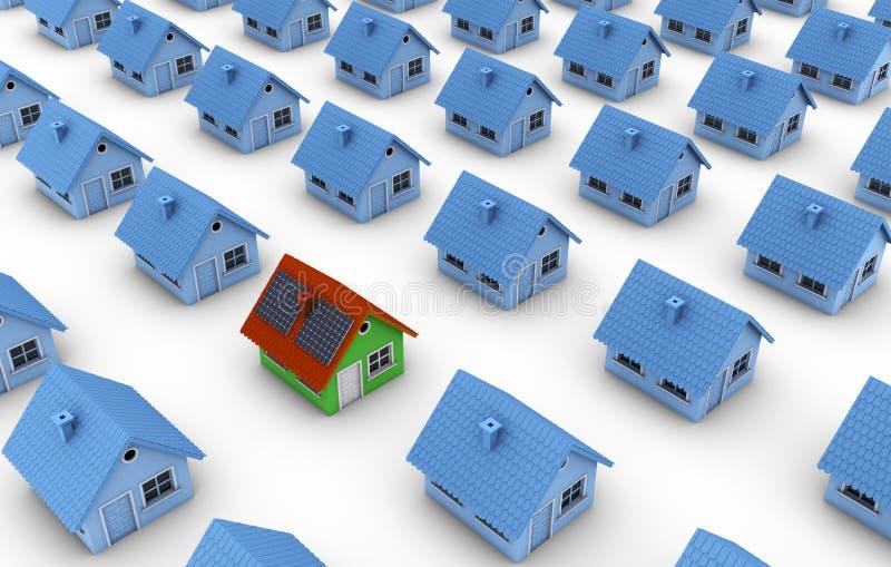 Uma casa verde com painéis solares ilustração stock