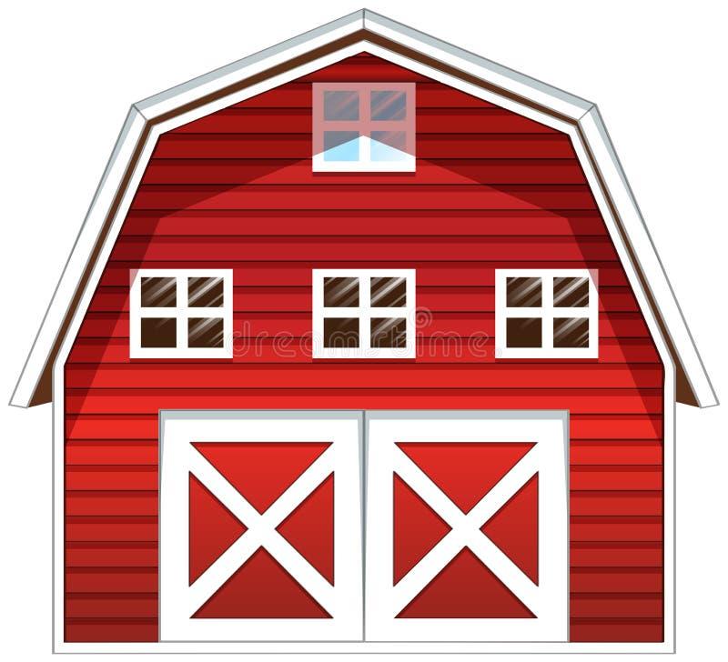 Uma casa vermelha do celeiro ilustração royalty free