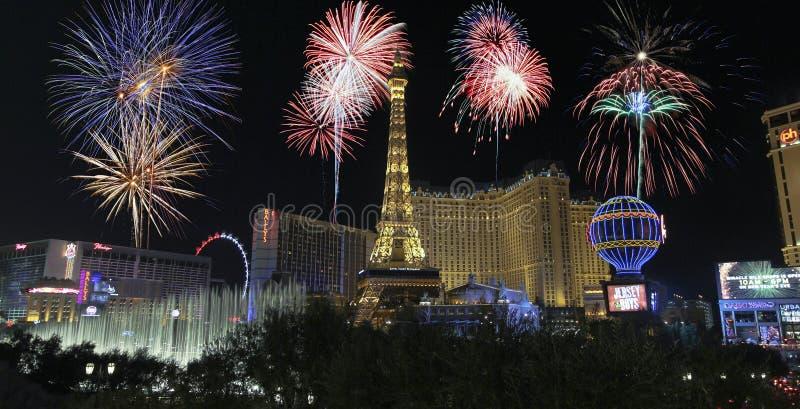 Uma celebração em Bellagio e em Las Vegas Blvd foto de stock