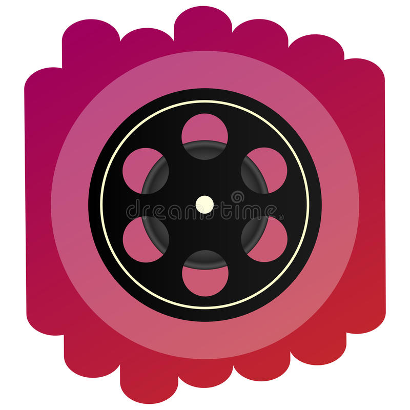 Uma celuloide ou um cinematografia-filme brilhante do ícone Sinal da cinematografia, do filme e do cinema ilustração stock
