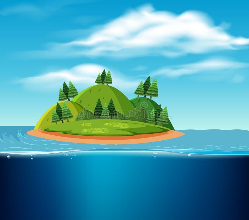Uma cena abandonada da ilha ilustração royalty free