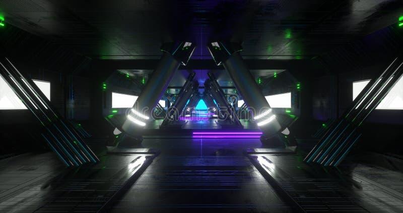 Uma cena com uma opinião do close-up de uma nave espacial da fantasia/ficção científica feita pela arquitetura geométrica ilustração do vetor