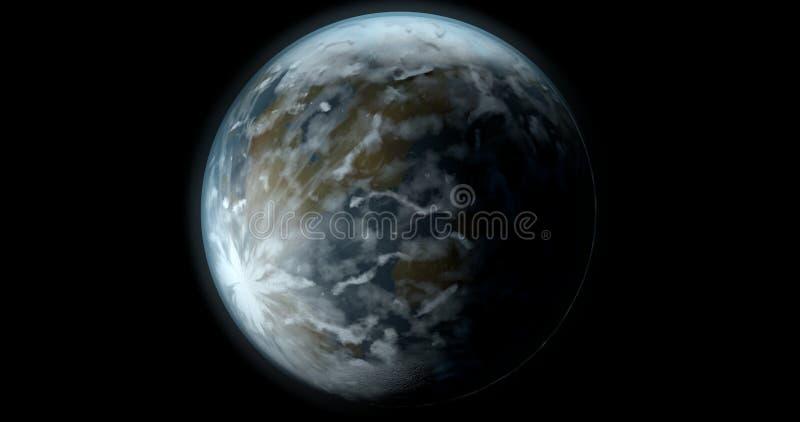 Uma cena com um planeta misterioso da fantasia em um fundo preto ilustração stock