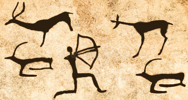 Uma cena da caça na parede da caverna imagem de stock