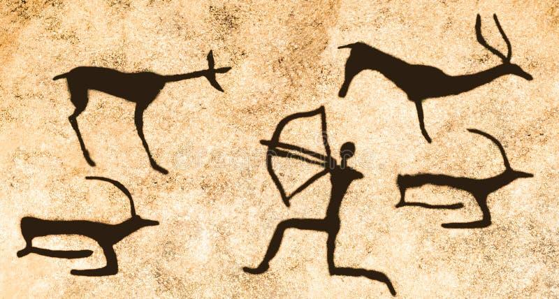 Uma cena da caça para animais antigos na parede da caverna ilustração do vetor