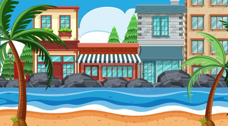Uma cena da cidade da praia ilustração royalty free