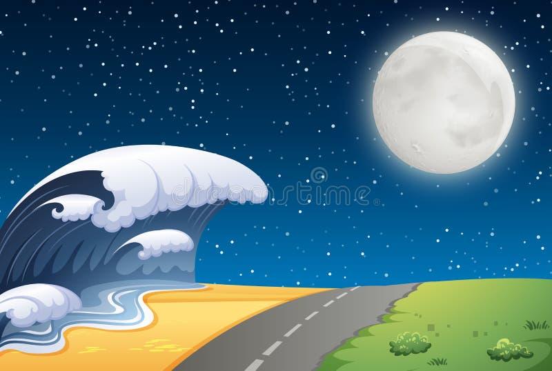 Uma cena da estrada da praia ilustração do vetor