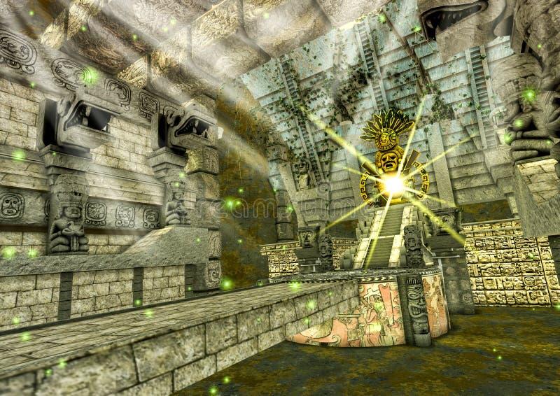 Uma cena de um templo maia da fantasia com uma ponte de pedra que conduza a um ídolo dourado ilustração do vetor