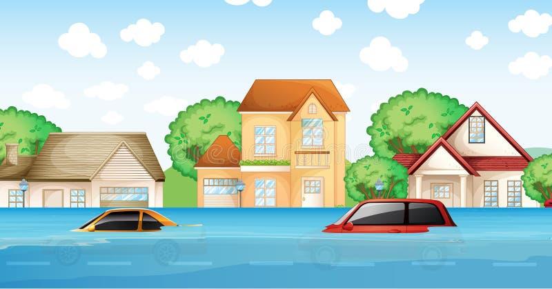 Uma cena do desastre de inundação ilustração do vetor