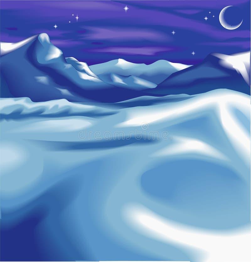 Uma cena do inverno do nighttime ilustração royalty free