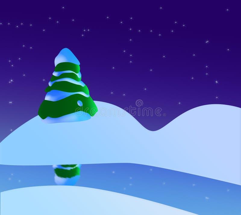 Uma cena nevado do Natal com árvore, rio e estrelas de Natal ilustração stock