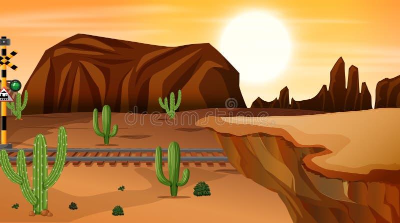 Uma cena quente do deserto ilustração do vetor