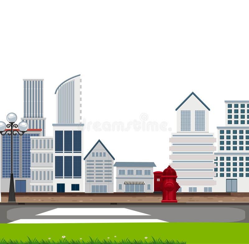 Uma cena urbana da cidade ilustração stock