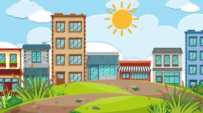 Uma cena urbana da cidade ilustração royalty free