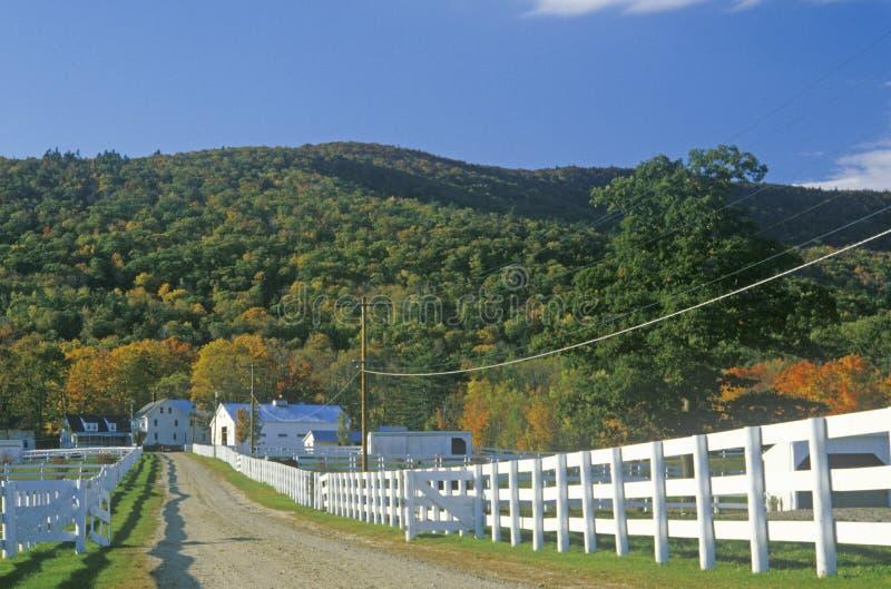 Uma cerca branca que conduz a uma casa em New Hampshire fotografia de stock royalty free