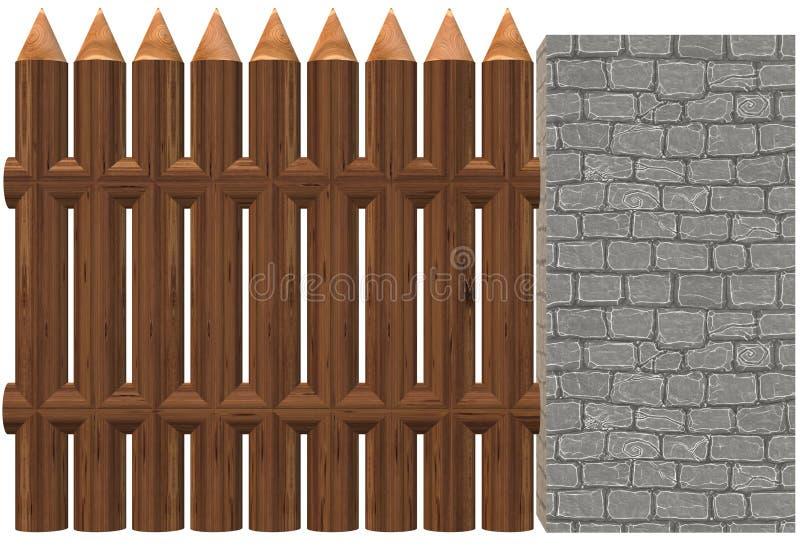 Uma cerca de madeira instalada ao lado de um claro - parede de tijolo dura cinzenta ilustração royalty free