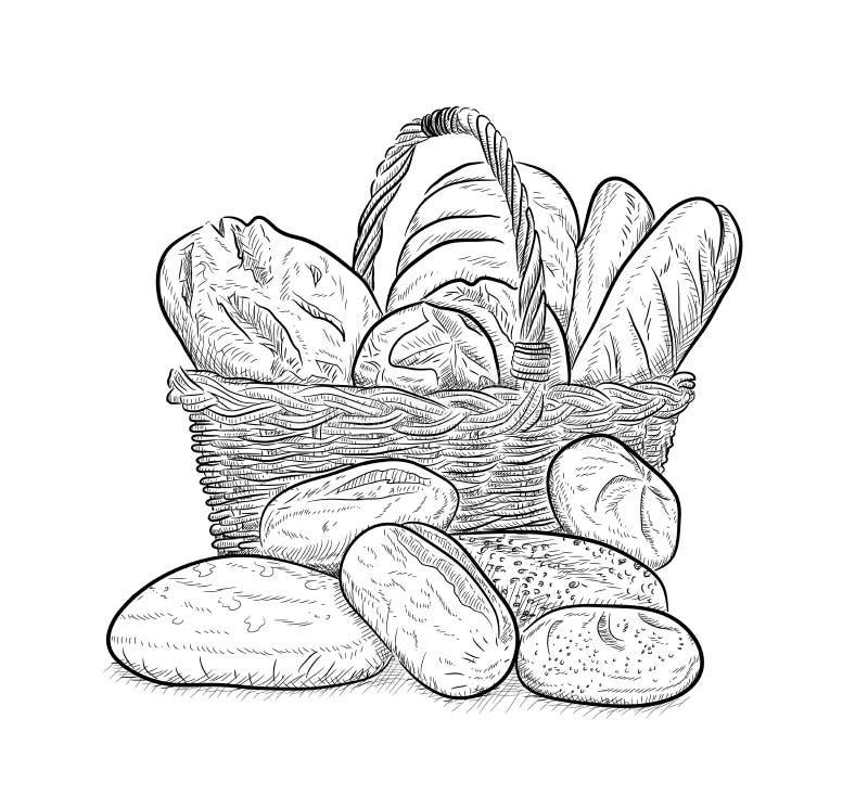 Uma cesta completamente do pão ilustração royalty free