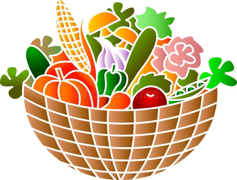 Uma cesta completamente dos vegetais ilustração do vetor