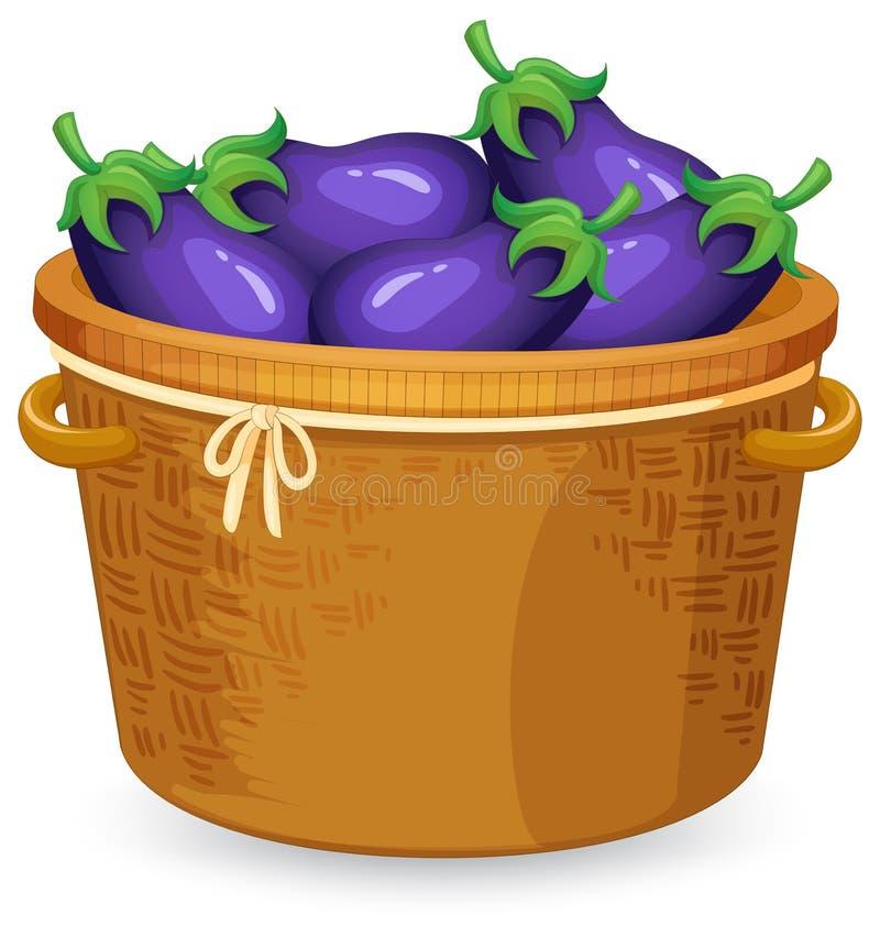Uma cesta da beringela ilustração royalty free