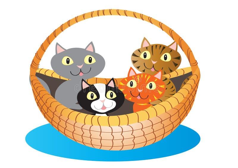 Uma cesta de gatinhos bonitos ilustração royalty free