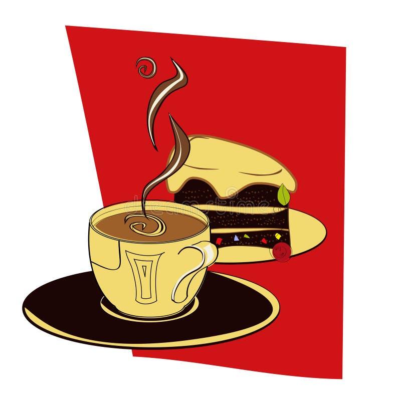 Uma chávena de café com bolo ilustração stock