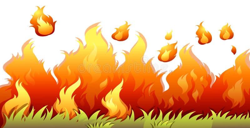 Uma chama do bushfire no fundo branco ilustração royalty free
