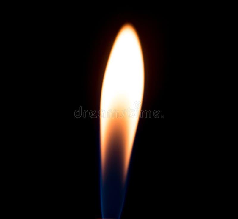 Uma chama do fogo do isqueiro do cigarro em um fundo preto imagem de stock royalty free