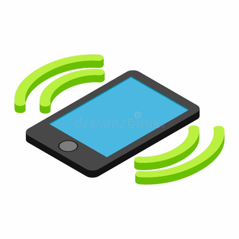 Uma chamada entrante ao ícone 3d isométrico do telefone ilustração stock