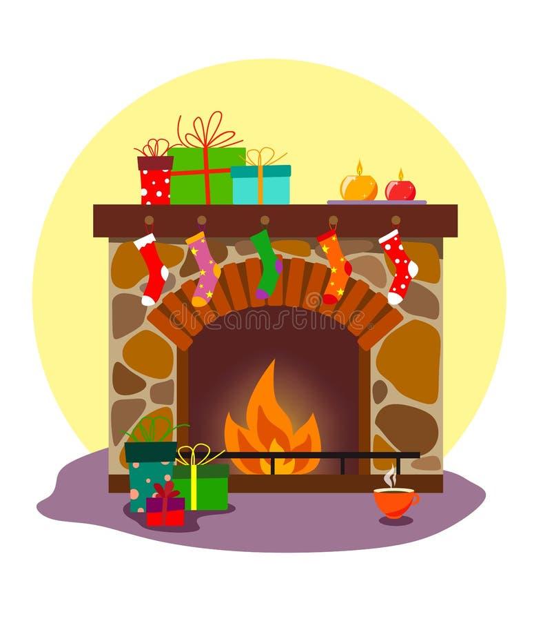 Uma chaminé acolhedor com peúgas e presentes pelo Natal ou o ano novo, com uma decoração das velas e uma caneca quente de chá em  ilustração do vetor