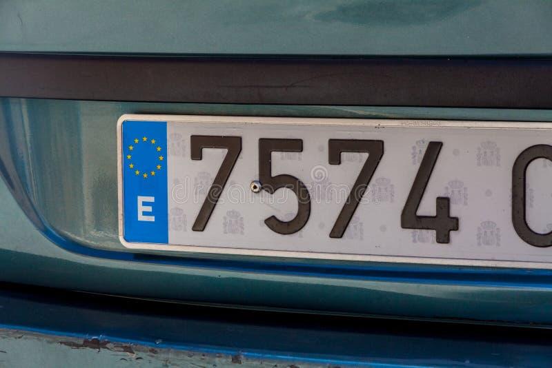 Uma chapa de matrícula do carro da Espanha imagens de stock royalty free