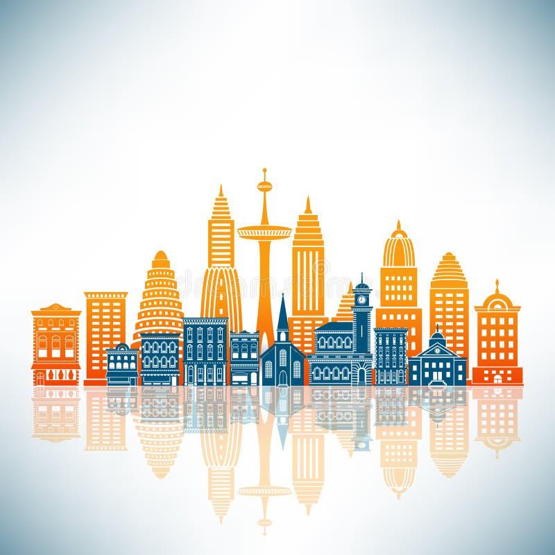 Uma cidade estilizado ilustração do vetor