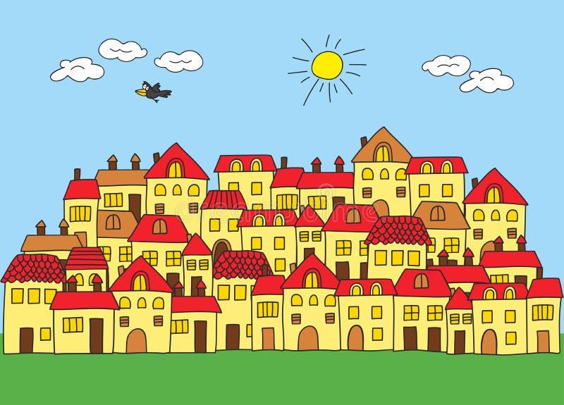 Uma cidade pequena em um estilo dos desenhos animados Casa com telhado vermelho ilustração stock