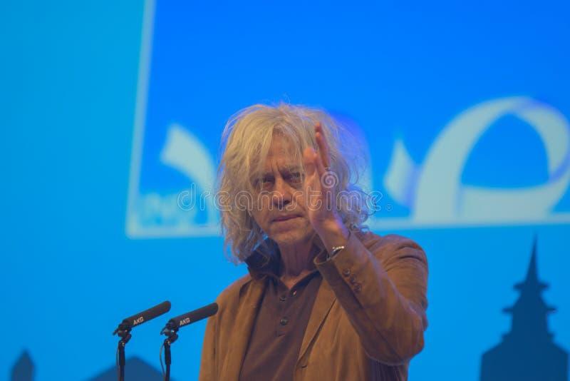 Uma cimeira mundial nova em Den Haag City The Netherlands 2018 Bob Geldolf In Action fotos de stock royalty free