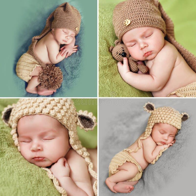 Uma colagem das fotos de um bebê de sono no tampão feito malha fotografia de stock