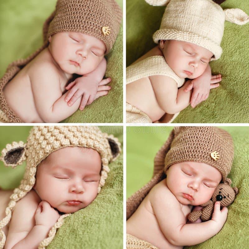Uma colagem das fotos de um bebê de sono no tampão feito malha fotos de stock royalty free