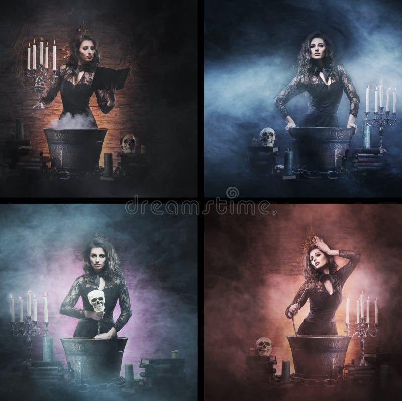 Uma colagem das imagens com as bruxas que fazem poções foto de stock