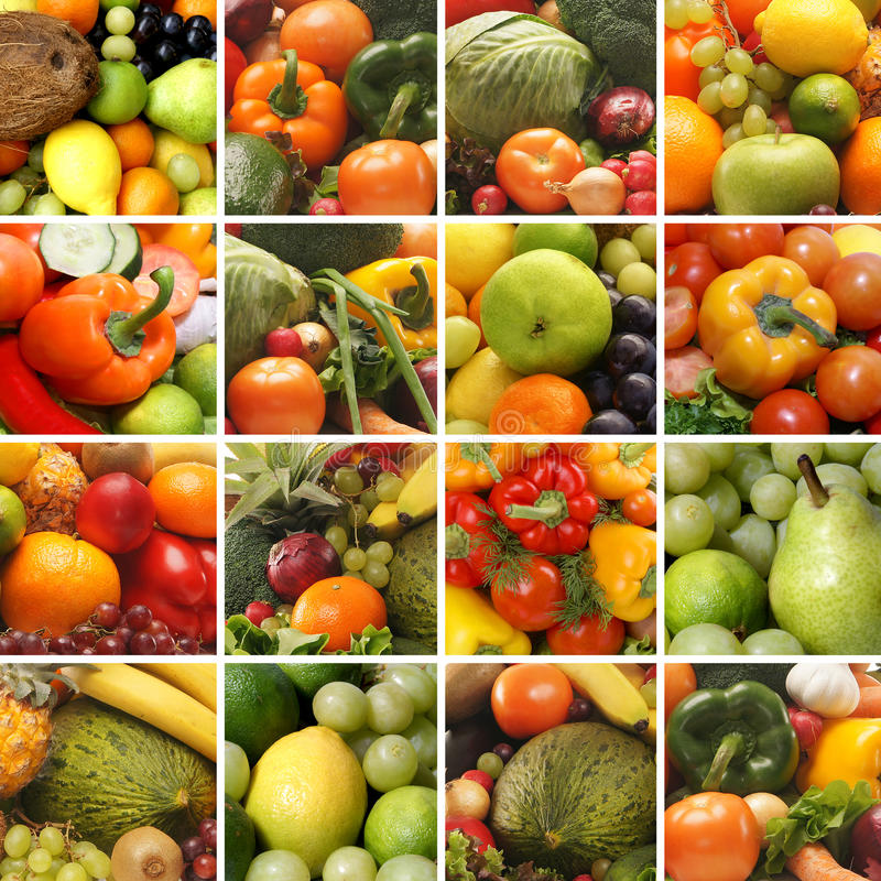 Uma colagem das imagens com frutas e verdura fotografia de stock royalty free