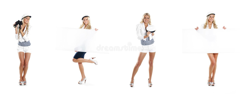 Uma colagem das jovens mulheres no marinheiro veste-se no branco imagens de stock royalty free