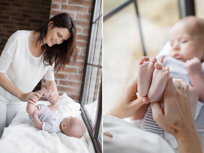 Uma colagem de duas fotos mãe e bebê felizes fotos de stock royalty free