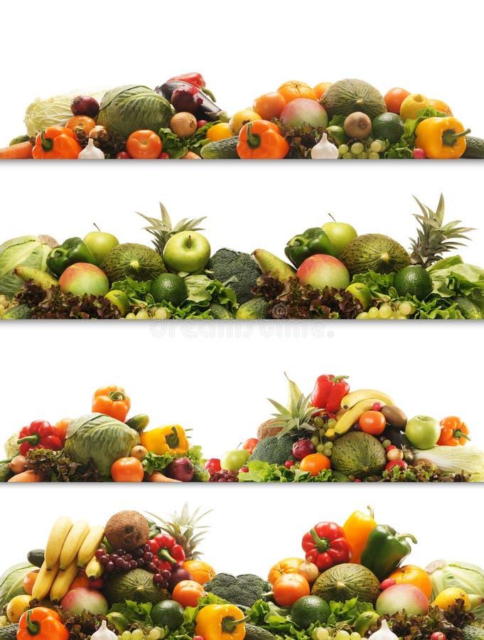 Uma colagem de frutas e verdura frescas e saborosos foto de stock