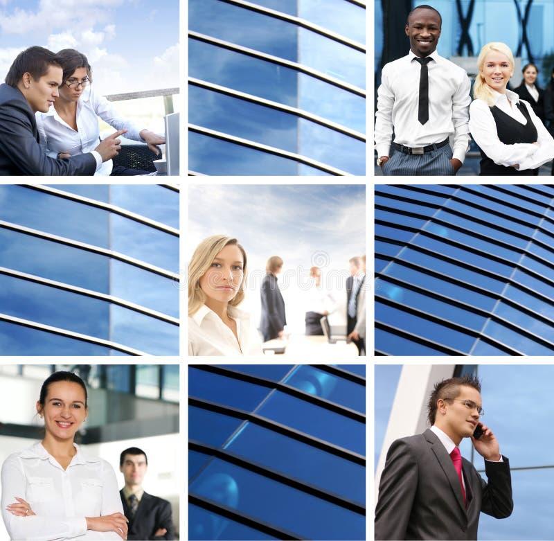 Uma colagem de imagens do negócio com jovens fotos de stock royalty free