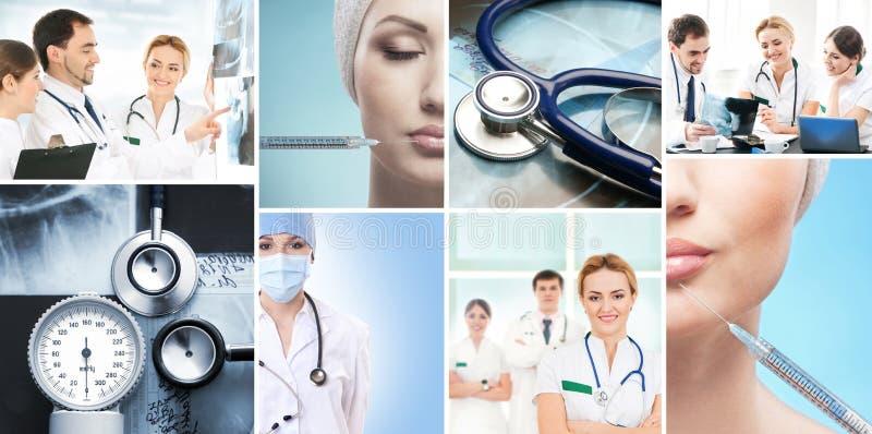 Uma colagem de imagens médicas com doutores imagem de stock royalty free
