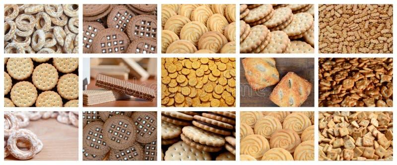 Uma colagem de muitas imagens com vário close-up dos doces Um grupo o ilustração royalty free