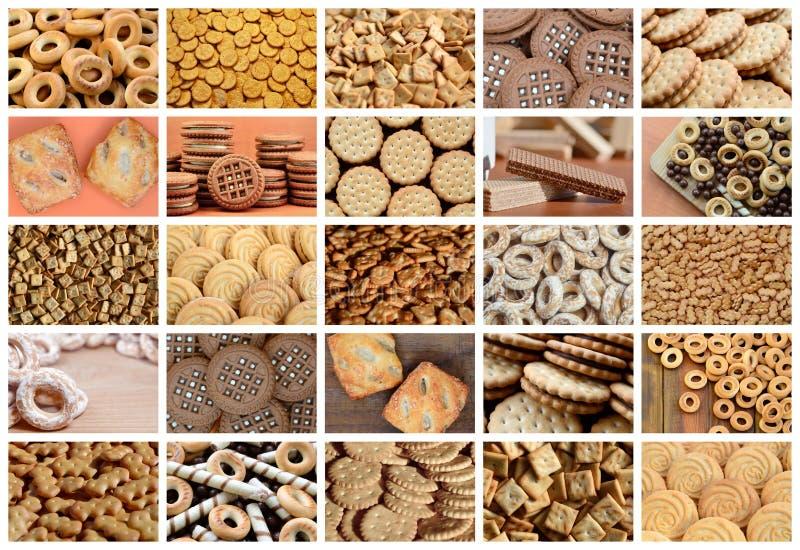 Uma colagem de muitas imagens com vário close-up dos doces Um grupo o ilustração stock