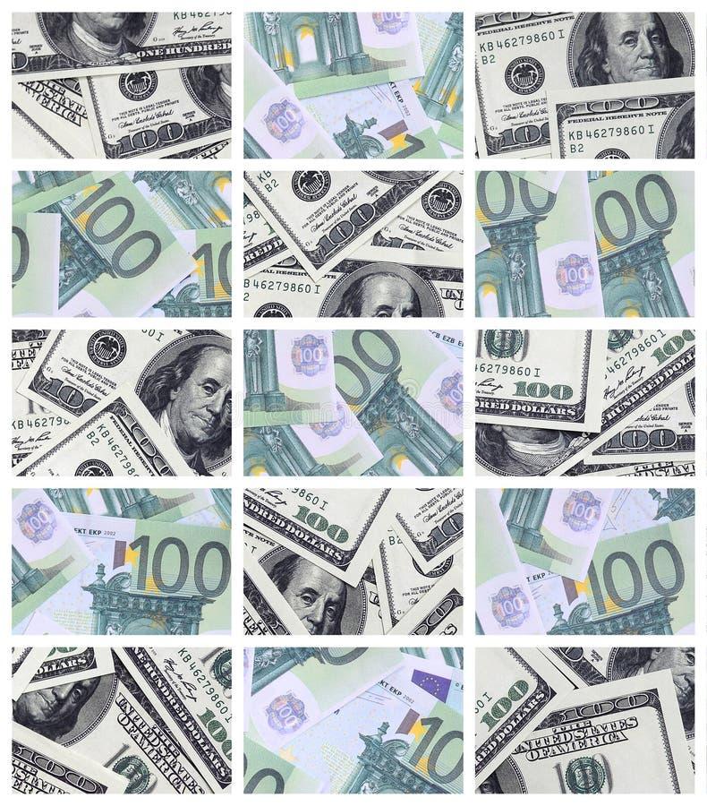 Uma colagem de muitas imagens de euro- cédulas nas denominações de 1 ilustração stock