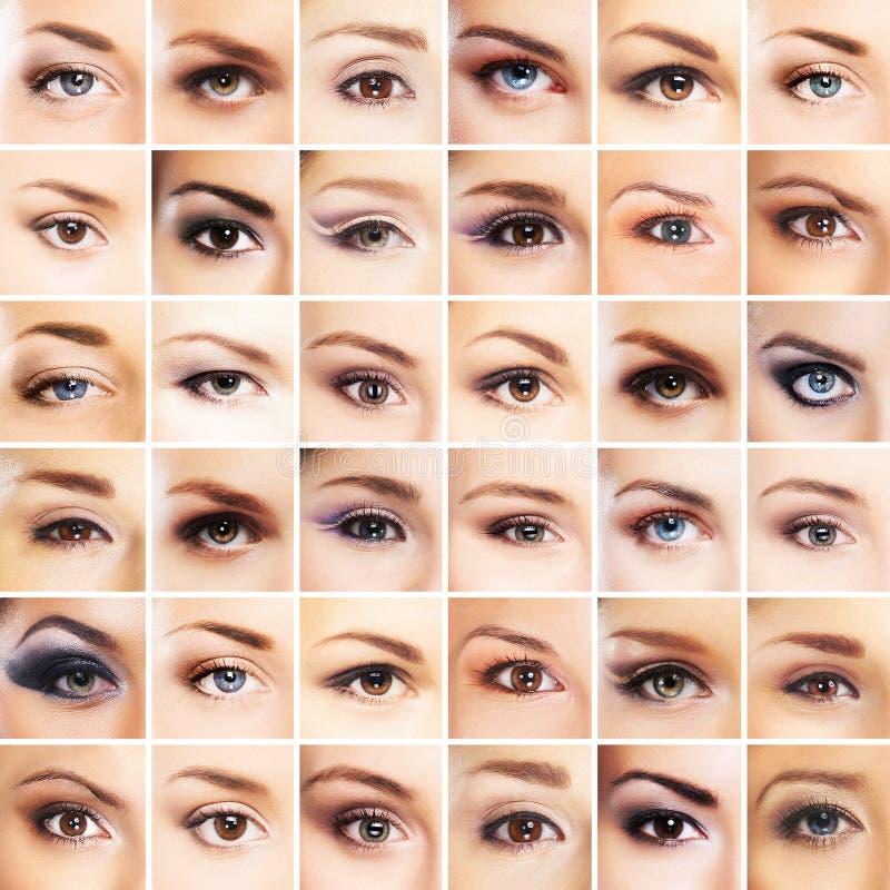 Uma colagem de muitos olhos fêmeas diferentes imagem de stock royalty free