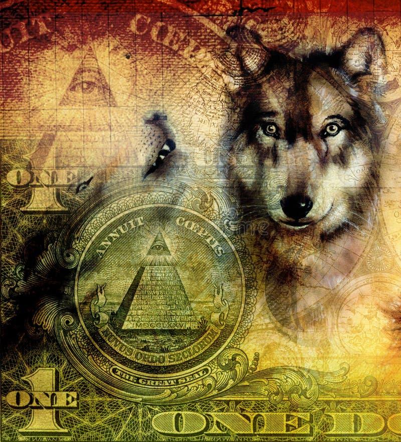 Uma colagem do dólar com a cabeça do lobo, pintando na lona, sepia decorativo da cor e fundo verde, tatuagem projeta ilustração royalty free