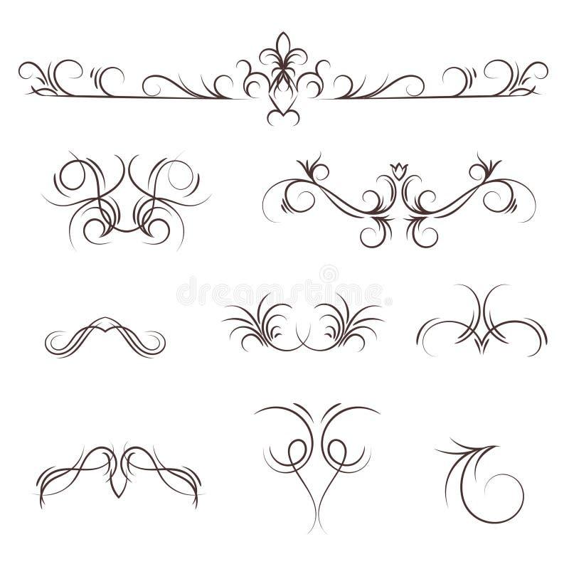 Uma coleção de monogramas decorativos do vetor e beiras caligráficas ilustração do vetor