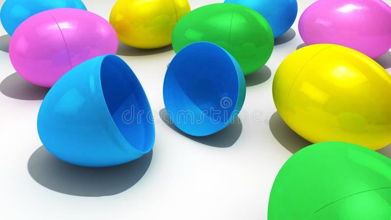 Uma coleção de ovos da páscoa plásticos sobre um fundo branco ilustração stock