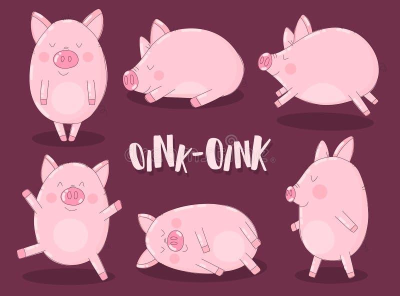 Uma coleção de seis porcos engraçados em um fundo de Borgonha com a palavra grunhe Ilustração do vetor pelo ano novo, Natal, cópi ilustração royalty free